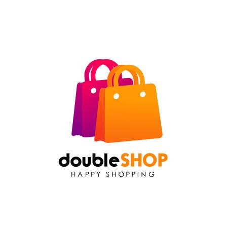 shopping logo design template. shopping bag icon design