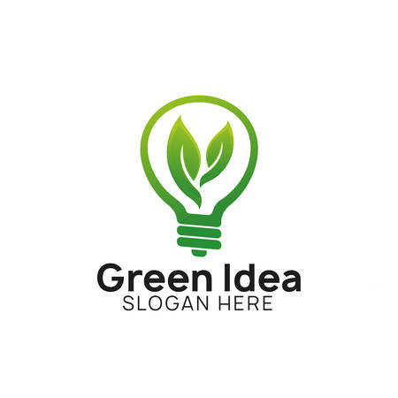 green think idea logo design template. bulb icon symbol designs