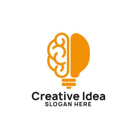 brain bulb icon symbol design. creative idea logo designs template