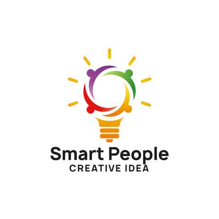 plantilla de diseño de logotipo de personas inteligentes. diseños de logotipos de ideas creativas. diseño de símbolo de icono de bombilla Logos