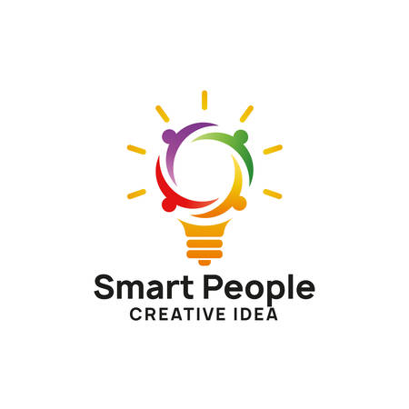 smart people logo design template. creative idea logo designs. bulb icon symbol design Vettoriali