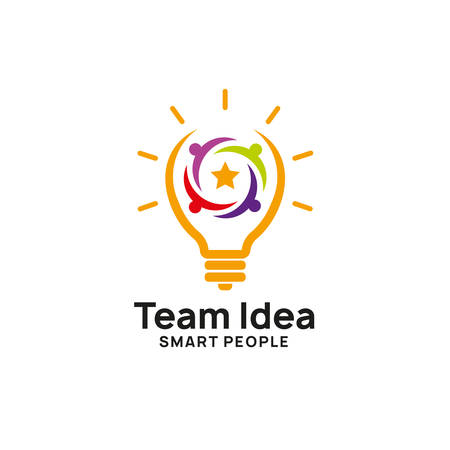 teamwork creative idea logo design template. bulb icon symbol designs