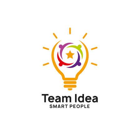Teamwork kreative Idee Logo-Design-Vorlage. Glühbirnensymbol-Symboldesigns