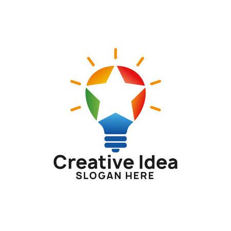 creative idea logo design template. bulb star icon symbol designs