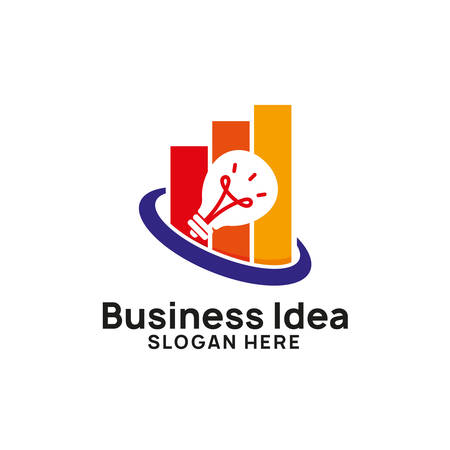 business creative idea logo design template with chart and arrow illustration. bulb icon symbol designs