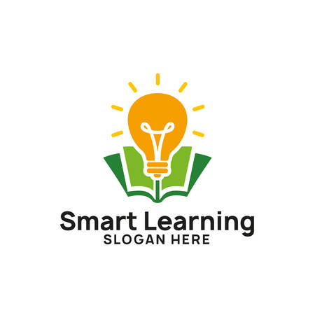 smart learning logo design template. bulb icon symbol designs