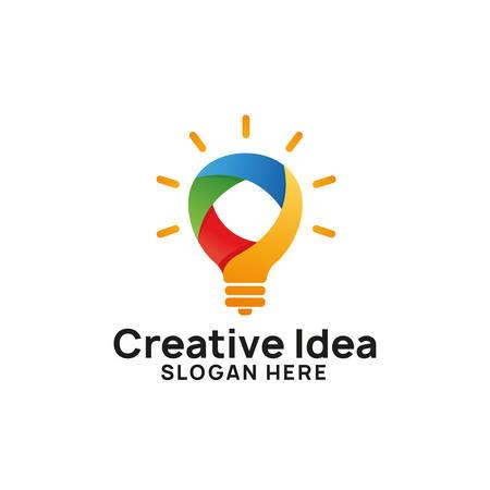 colorful creative idea logo design template. colorful bulb icon symbol designs