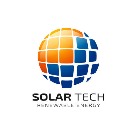 Sun solar energy logo design template. solar tech logo designs