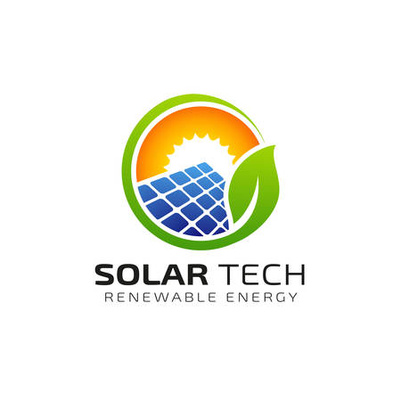 Design-Vorlage für das Logo der Sonne Sonnenenergie. Öko-Energie-Logo-Designs Logo