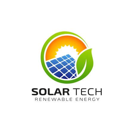Modèle de conception de logo d'énergie solaire solaire. conceptions de logo éco-énergétique Logo