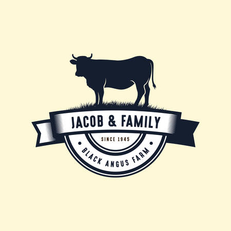 black angus logo design template. cow farm logo design. cow vector illustration