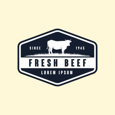 black angus logo design template. cow farm logo design. cow vector illustration