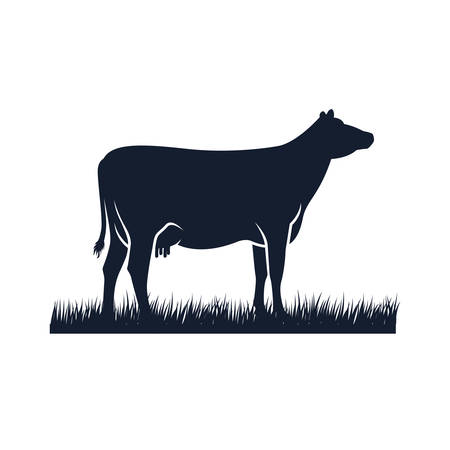 icône de vecteur de silhouette de vache. illustration vectorielle angus noir. création de logo de ferme de vache Logo