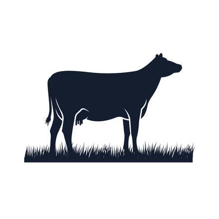 krowa sylwetka wektor ikona. ilustracja wektorowa czarny angus. projektowanie logo farmy krów Logo