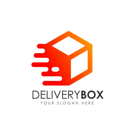 design del logo della scatola di consegna. vettore dell'icona del modello di progettazione del logo del corriere