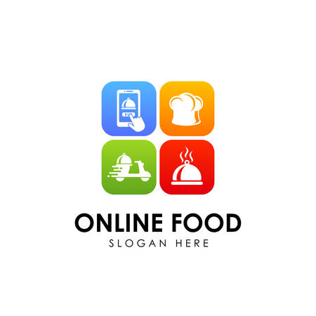 online food order delivery service logo design 矢量图像