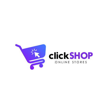 click shop logo icon design. online shop logo design template Çizim
