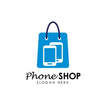 modello di progettazione del logo del negozio di telefonia. design del logo del negozio di gadget