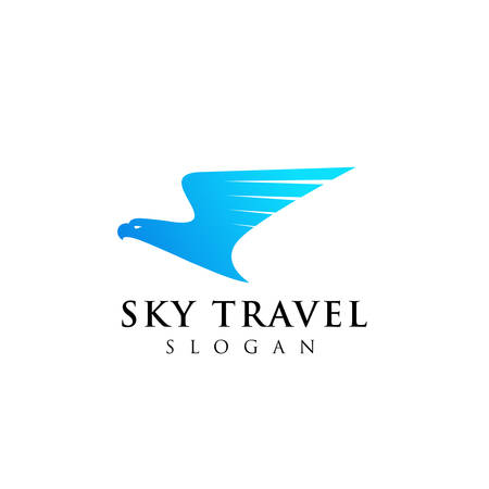 airplane travel agency logo design with an eagle head illustration