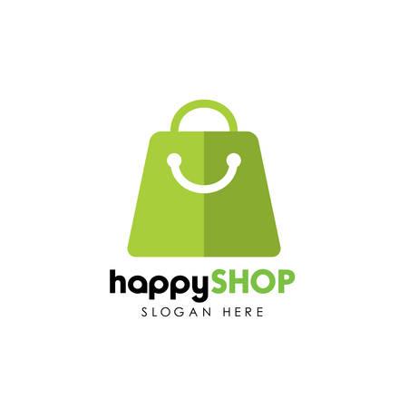 happy shop logo design template. shopping logo design stock Illustration