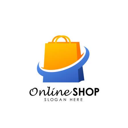 icona di vettore di progettazione logo negozio online. disegno del logo dello shopping