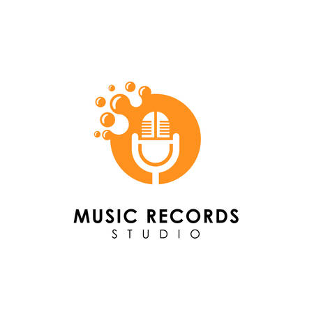 dots music records logo design. microphone icon symbol design Çizim