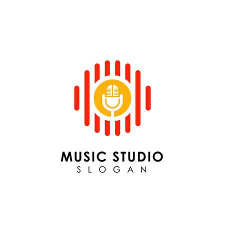 music records logo design. microphone icon symbol design Logo