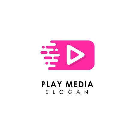 fast play media logo design template. play icon symbol design