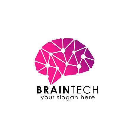 brain connection logo vector icon. digital brain. brain hub logo design.