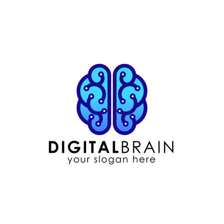 digital brain logo design template. electric brain logo vector icon Vectores