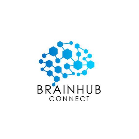 logotipo de conexión cerebral con hexágono. cerebro digital. icono de vector de diseño de logotipo de centro de cerebro