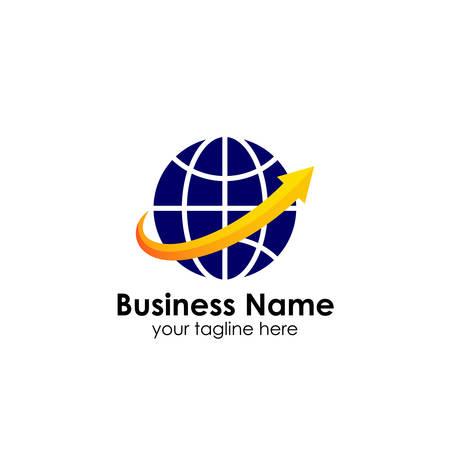 World finance business logo template. globe with arrow vector logo