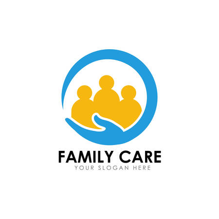 family care logo design template with hand care vector icon illustration