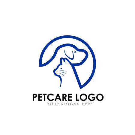 cuidado de mascotas y plantilla de diseño de logotipo de clínica de mascotas. silueta de vector de perro y gato