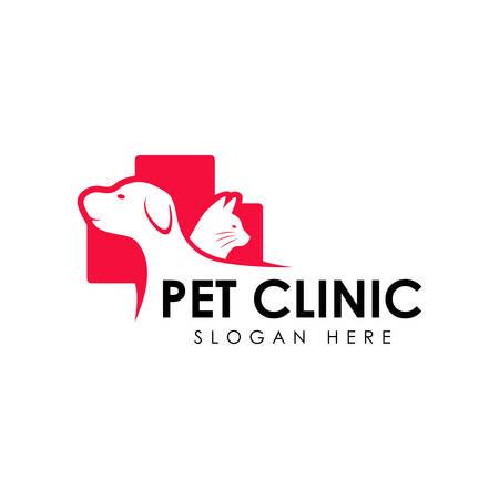 Design-Vorlage für das Logo der Tierklinik. Katze und Hund-Vektor-Silhouette
