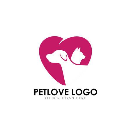 pet love logo design template. pet care vector icon Illustration