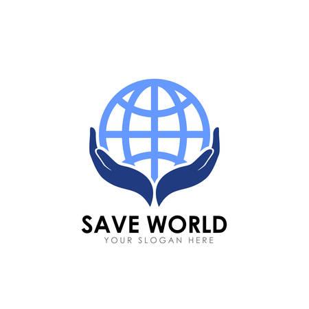 salva il design del logo del mondo. modello di progettazione del logo per la cura della terra Logo
