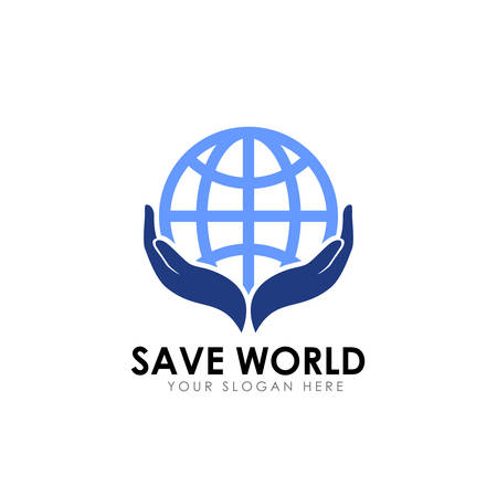 save world logo design. earth care logo design template Illusztráció