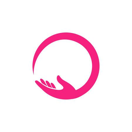 plantilla de diseño de logotipo de cuidado de manos. Ilustración de icono de vector de cuidado de manos