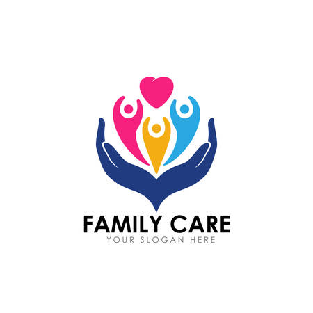 family care logo design template. child on the heart shape with hand care illustration Ilustração