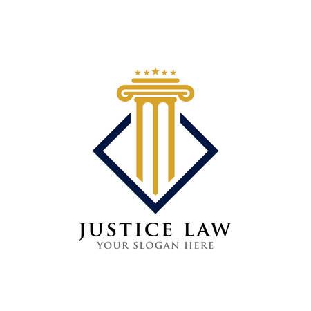 modèle de conception de logo de pilier. modèle de conception de logo de droit de la justice et d'avocat