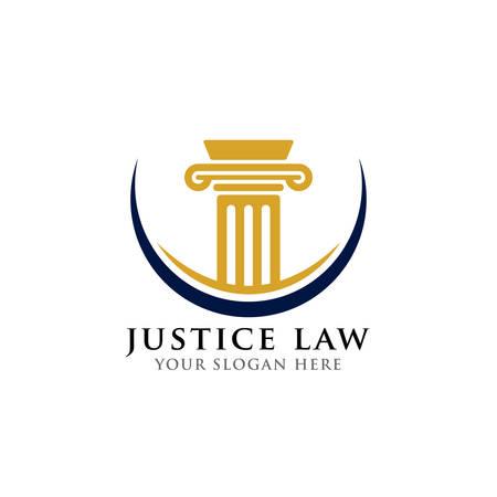 plantilla de diseño de logotipo de pilar. Ley de justicia y plantilla de diseño de logotipo de abogado