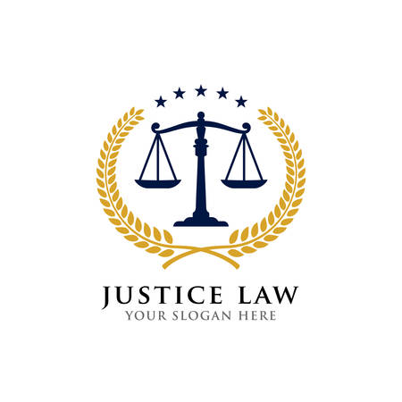 justice law badge logo design template. attorney emblem vector icon symbol Logo