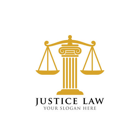 justice law logo design template. attorney logo vector design. scales and pillar of justice vector illustration