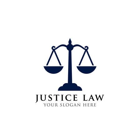 Skalen-Vektor-Illustration. Anwalt Logo-Vektor-Design. Logo-Designvorlage für Justizgesetze justice