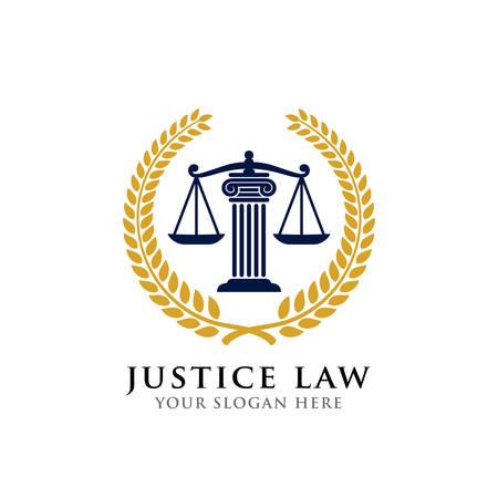 Gerechtigkeit Gesetz Abzeichen Logo Design-Vorlage. Emblem des Anwaltslogo-Vektordesigns. Skalen und Säulenvektorillustration Logo