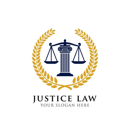 justice law badge logo design template. emblem of attorney logo vector design. scales and pillar vector illustration