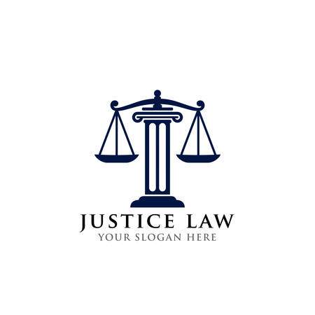 justice law logo design template. attorney logo vector design. scales and pillar of justice vector illustration Banque d'images - 117628874