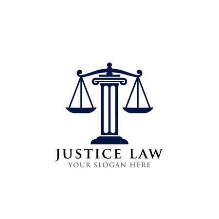 Logo-Design-Vorlage für Justizgesetze. Anwalt Logo-Vektor-Design. Waage und Säule der Gerechtigkeitsvektorillustration