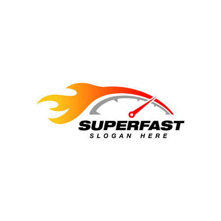 speedometer logo design template. speedometer vector icon with flame effect illustration